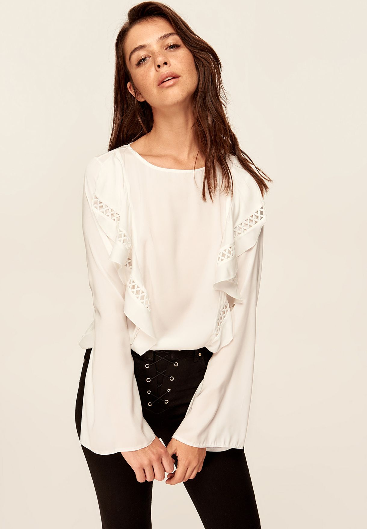 8c53d2da1 Shop Trendyol white Ruffle Detail Top TCLAW19EH0074/BEYAZ for Women ...
