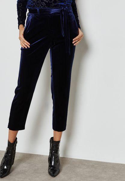 Tie Waist Velvet Pants