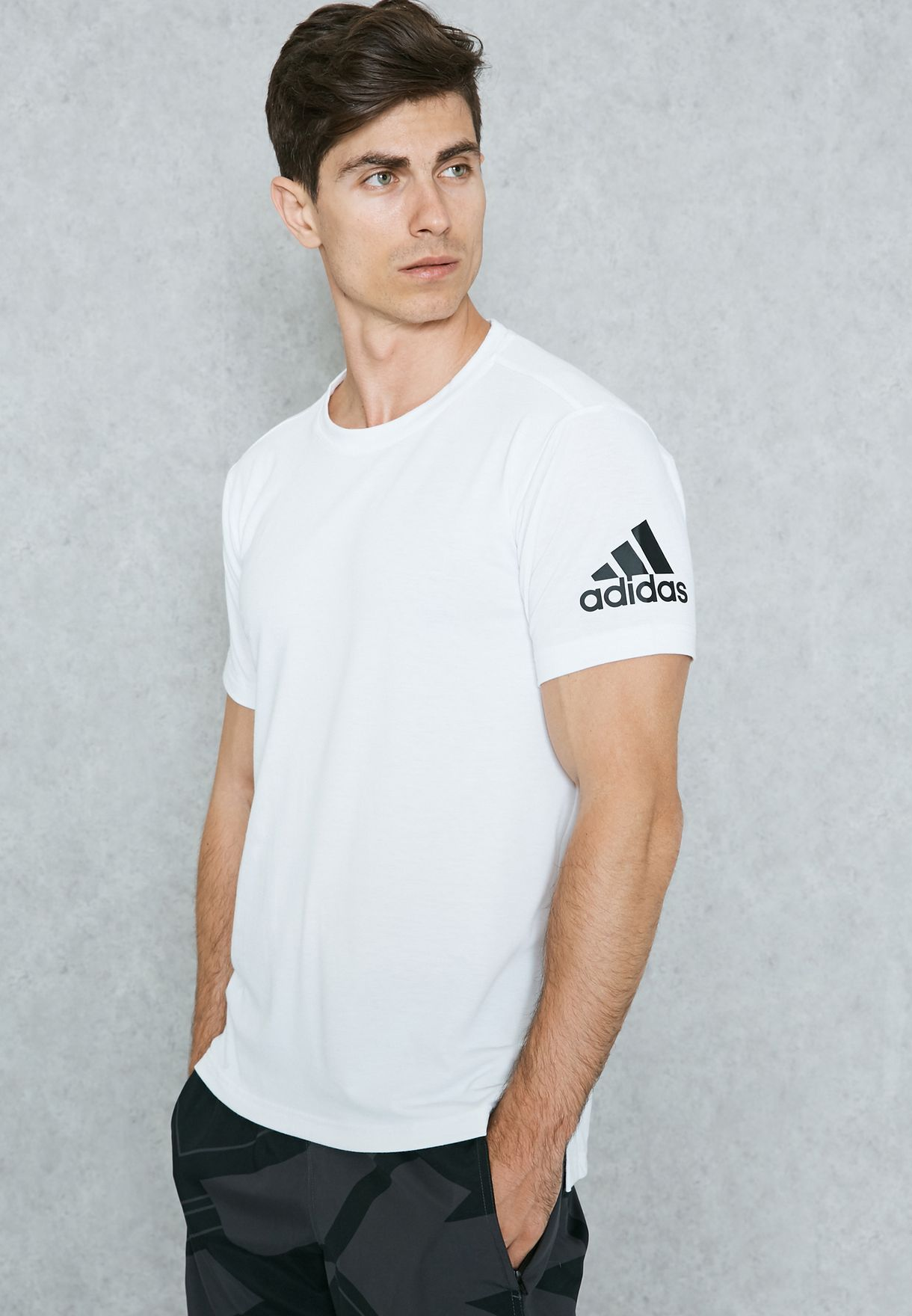 Shop adidas white Freelift Prime T-Shirt BK6095 for Men in UAE ... ace71909a