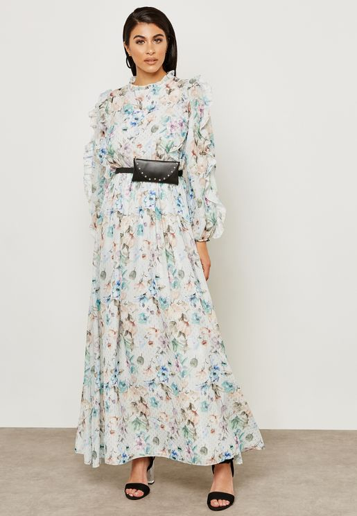 Printed Ruffles Maxi Dress
