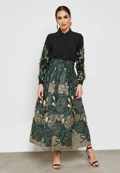 Embroidered Box Pleat Skirt