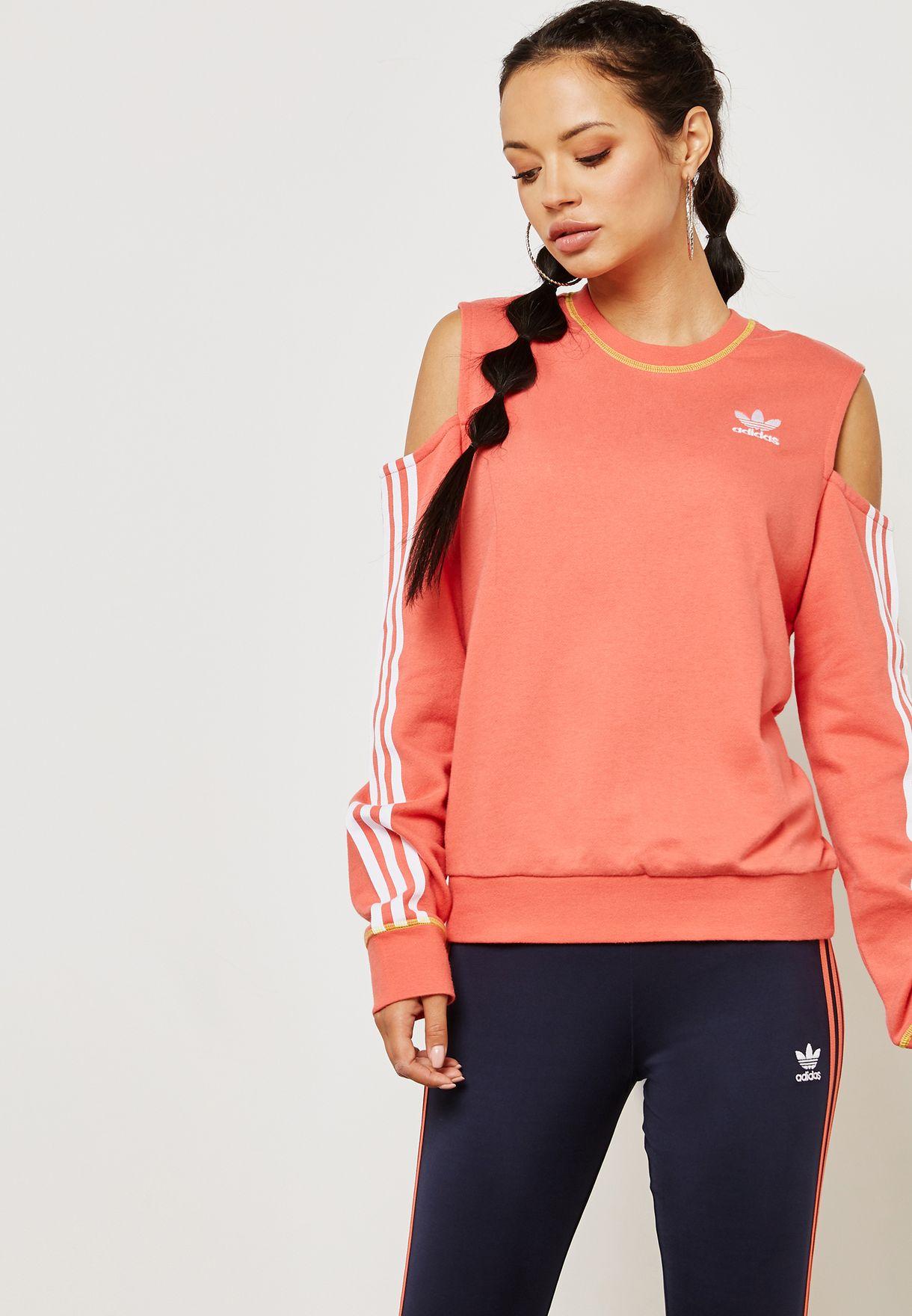 711cae7d8 Shop adidas Originals pink 3 Stripe Cut Out Sweatshirt DH2995 for ...