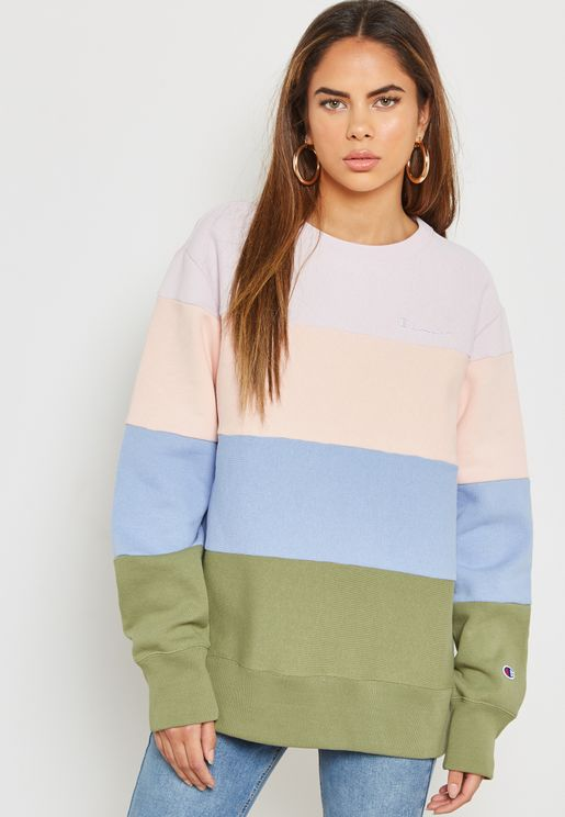 Reverse Weave Striped Sweatshirt