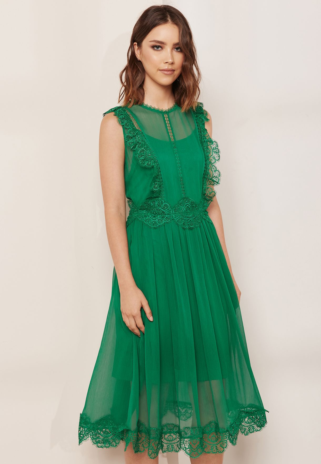 Shop Ted Baker Green Pleated Ruffle Detail Dress 147593