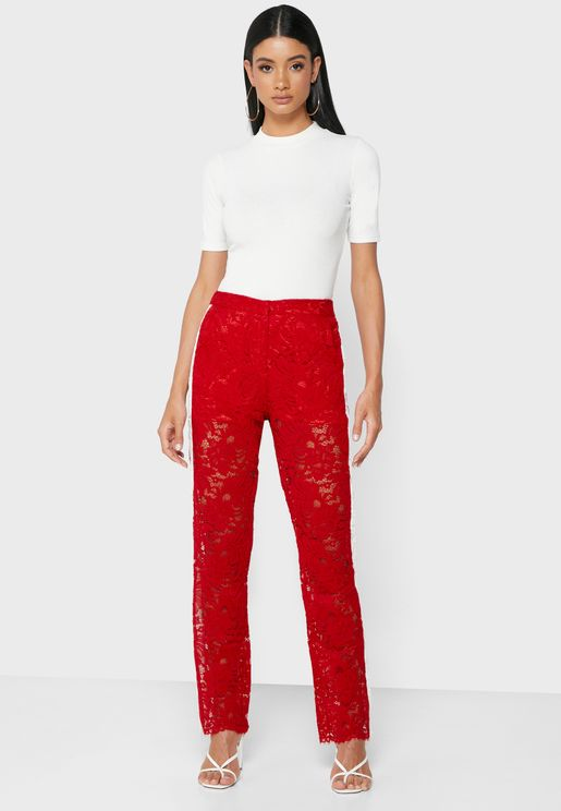 Contrast Side Paneled Lace Pants