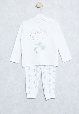 Baby Elephant Print T-Shirt+Sweatpants
