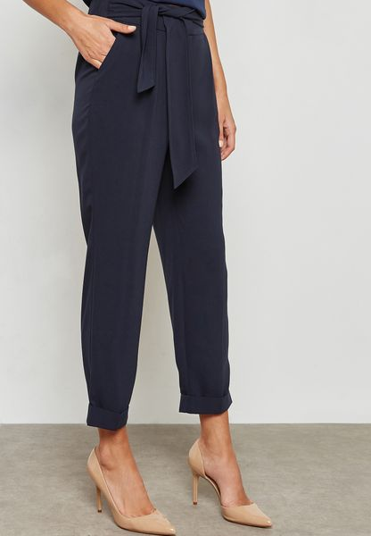 Tie Waist Tapered Pants