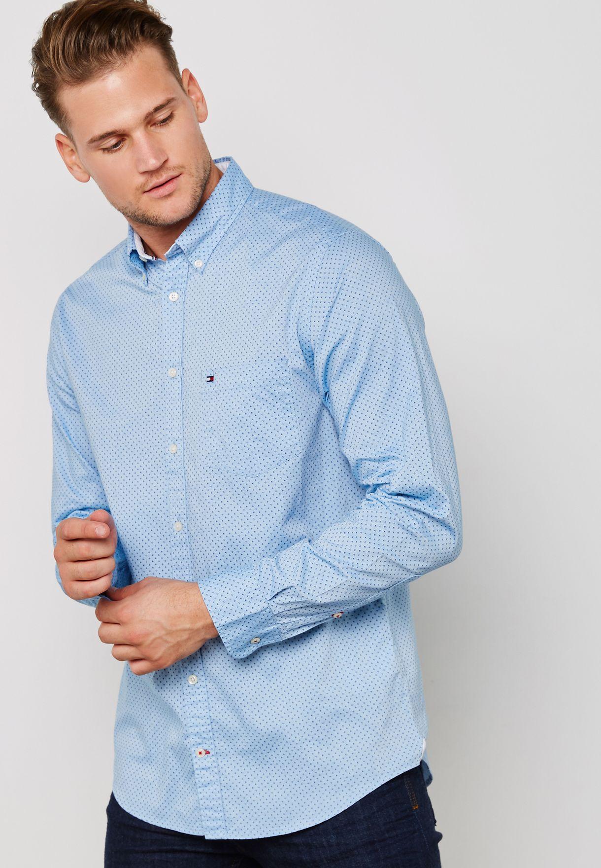 e7bb8b3c Shop Tommy Hilfiger blue Oxford Micro Print Shirt MW0MW08427903 for ...