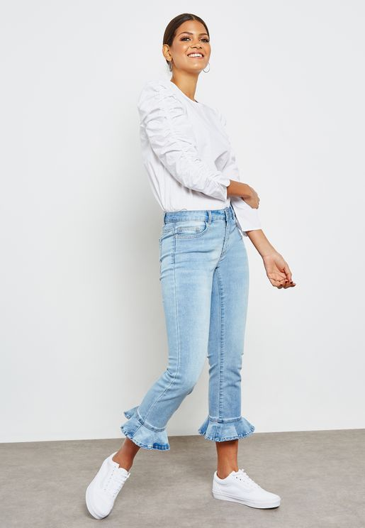 Flute Detail Straight Fit Jeans