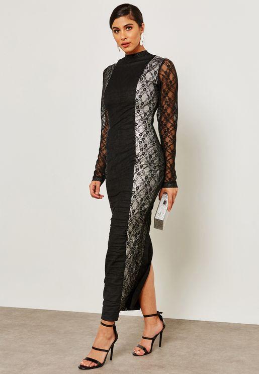 High Neck Lace Illusion Dress