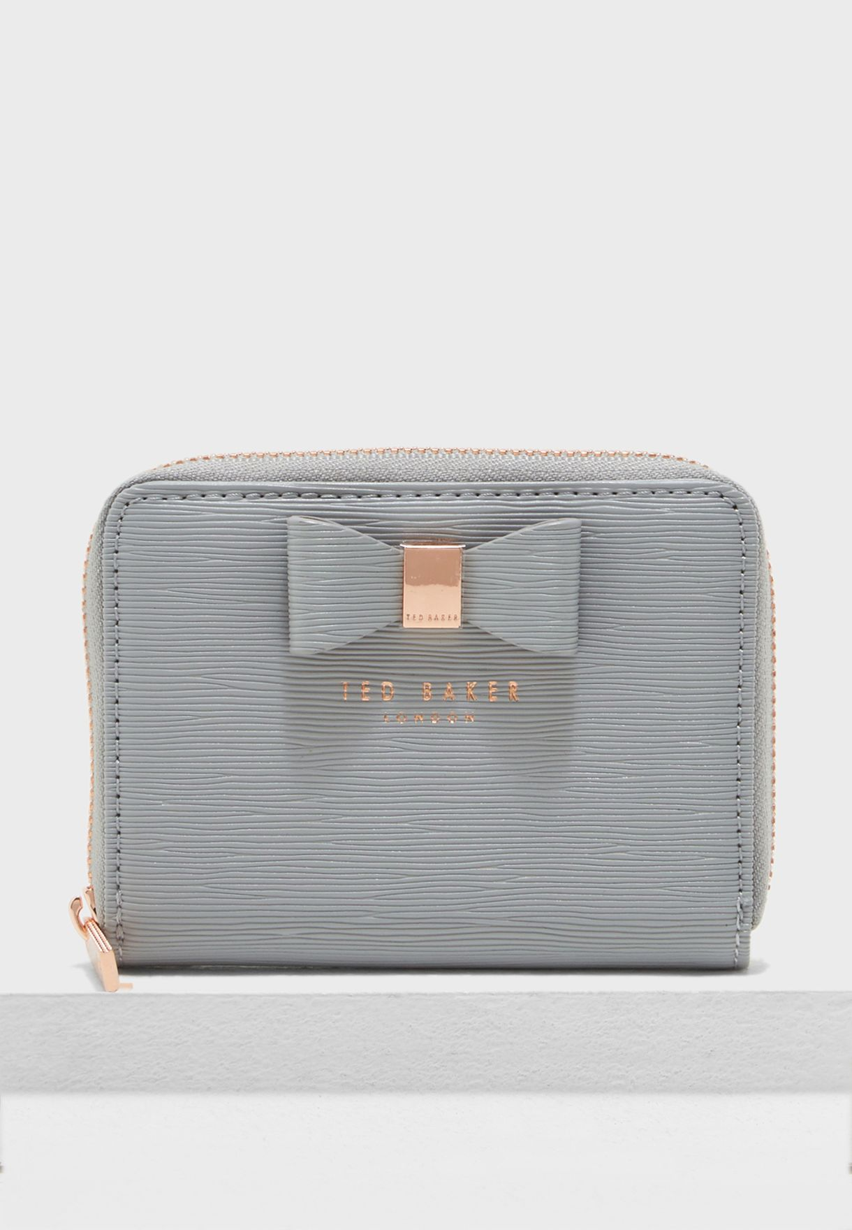 b42af4fa9 Shop Ted baker grey Aureole Textured Small Zip Purse 147399 for ...