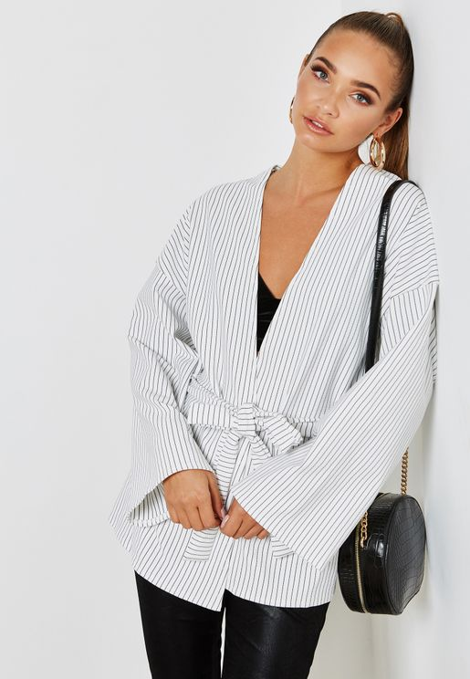 Tie Waist Striped Long Sleeve Jacket
