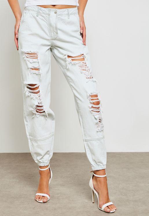 جينز بنمط ممزق