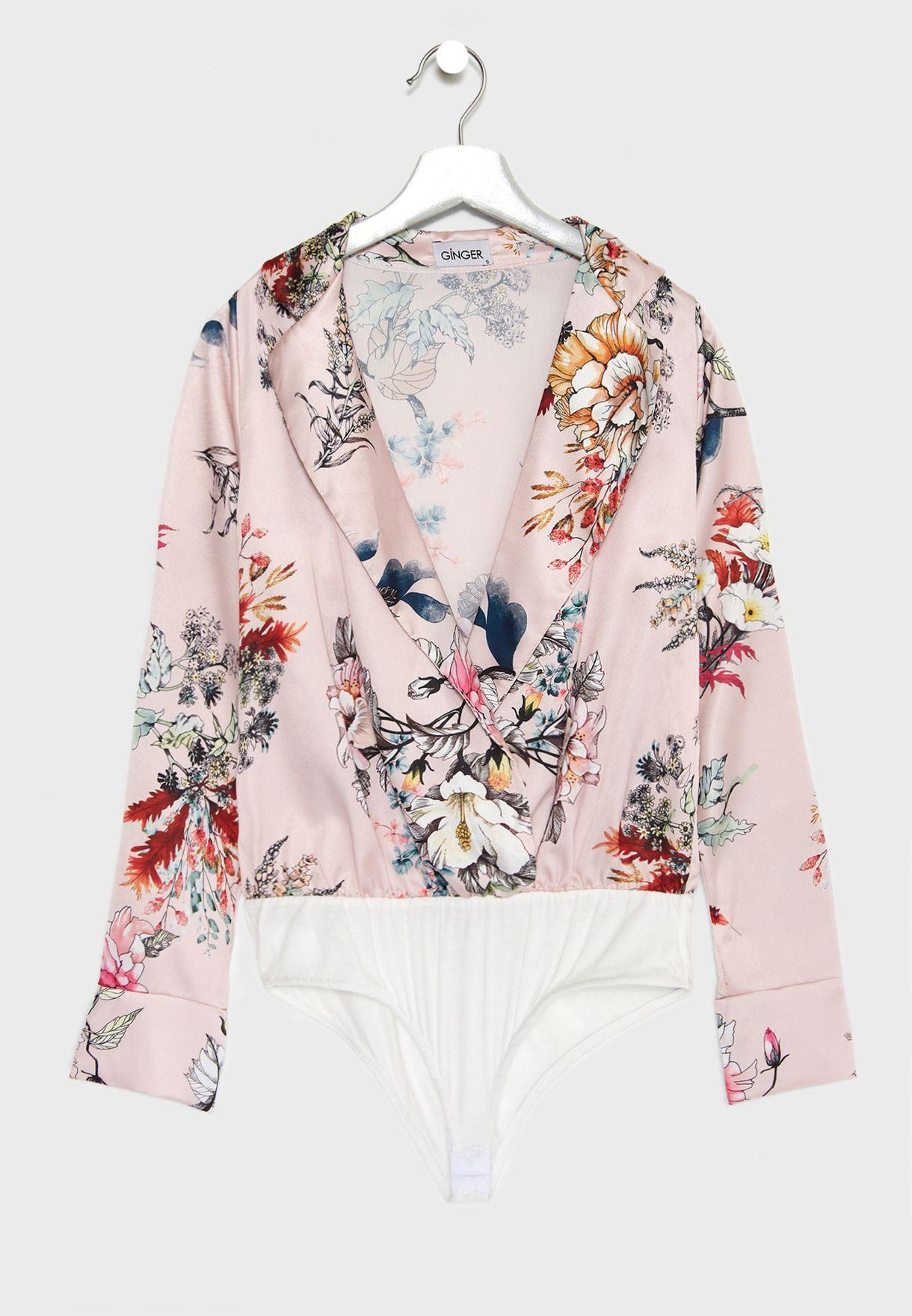 Floral Print Wrap Front Satin Body
