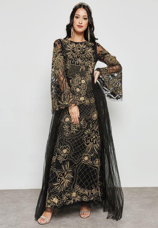 Embellished Tulle Detail Maxi Dress