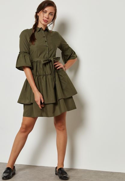 Tiered Ruffle Self Tie Shirt Dress