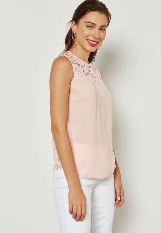 Lace Insert Shell Top