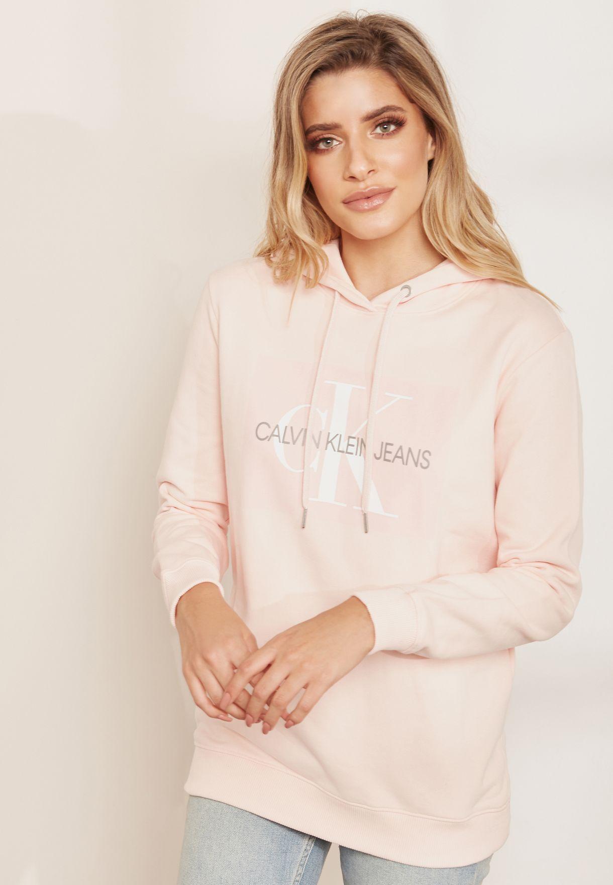 b390f1451b9 Shop Calvin Klein Jeans pink Oversized Logo Hoodie J20J208559 for ...