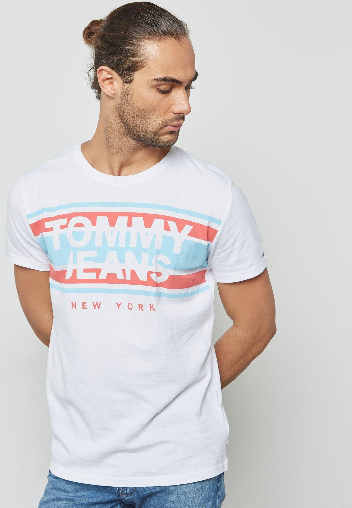 bdffde4b38b Shop Tommy Hilfiger white Cut Out Striped T-Shirt DM0DM04525 for Men ...