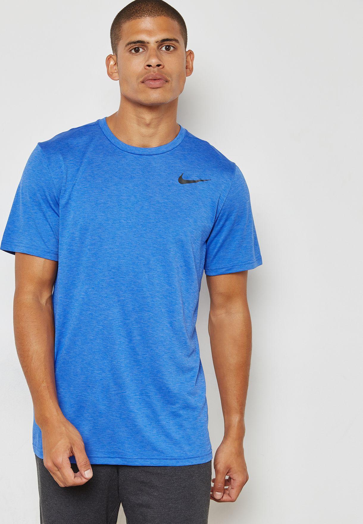 c0b44386 Shop Nike blue Dri-FIT Breathe T-Shirt 832835-461 for Men in ...