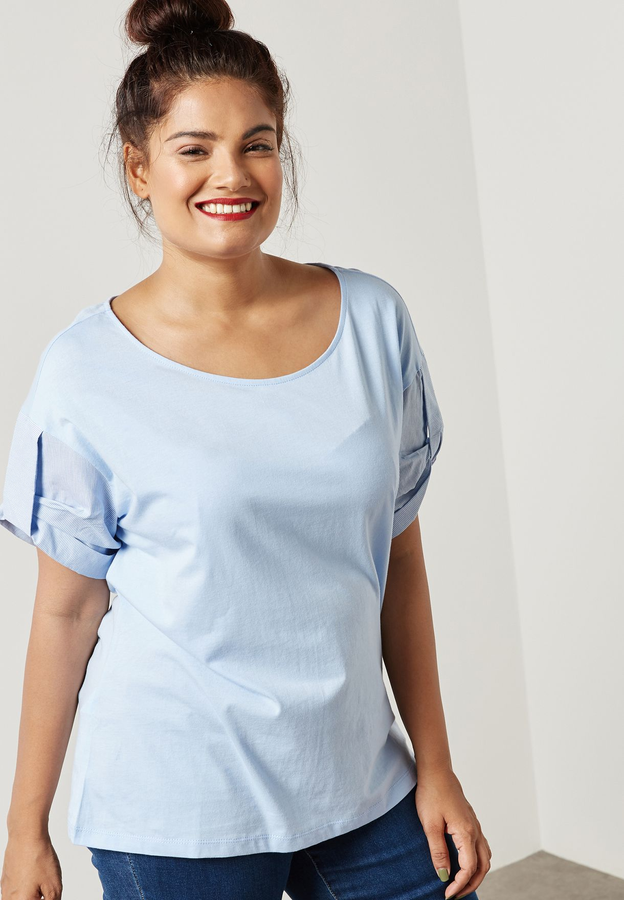 9623e785c27ca Shop Violeta by MANGO blue Contrast Sleeve Top 13010288 for Women in ...