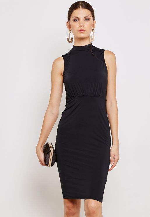 High Neck Keyhole Back Midi Dress