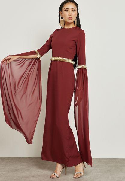 Contrast Fringed Paneled Detail Dress