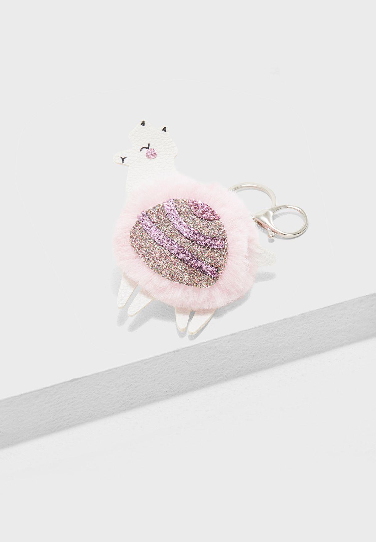Llama Pom Pom Keychain