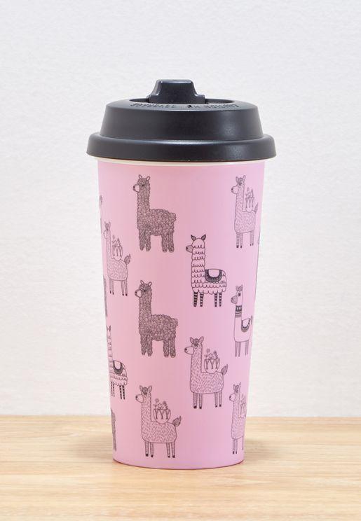 Llama Print Travel Mug