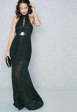 High Neck Fringed Maxi Dress