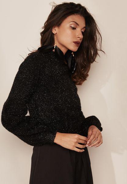 High Neck Fluffy Sweater