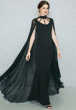 فستان بطبقة كيب فضفاضة