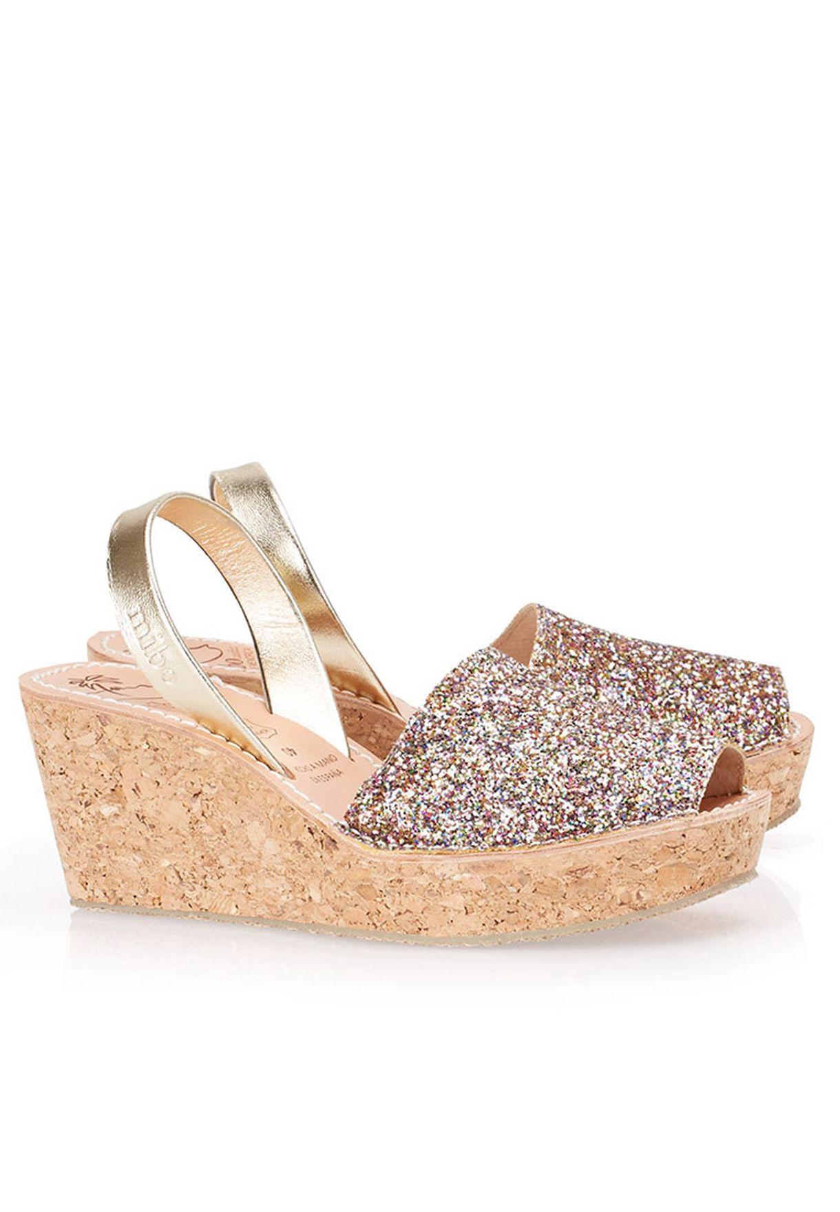 244edf84a Shop Mibo multicolor Glitter Wedge Sandals 182-003656 for Women in ...