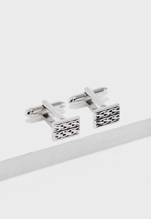 Engraved Woven Detail Cufflinks