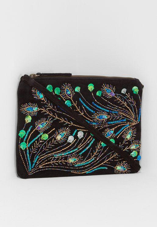 Peacock Embellished Flat Shoulder Bag