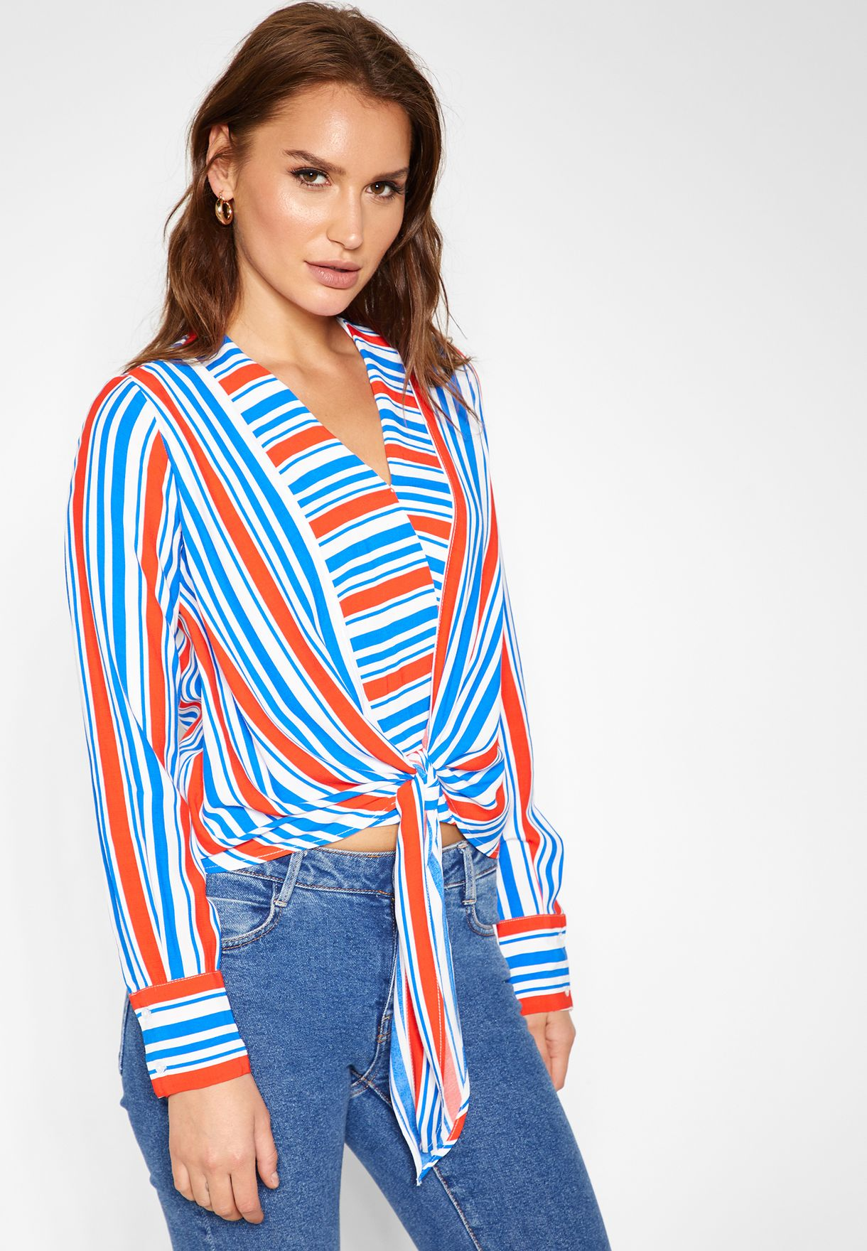 Front Knot Striped Top