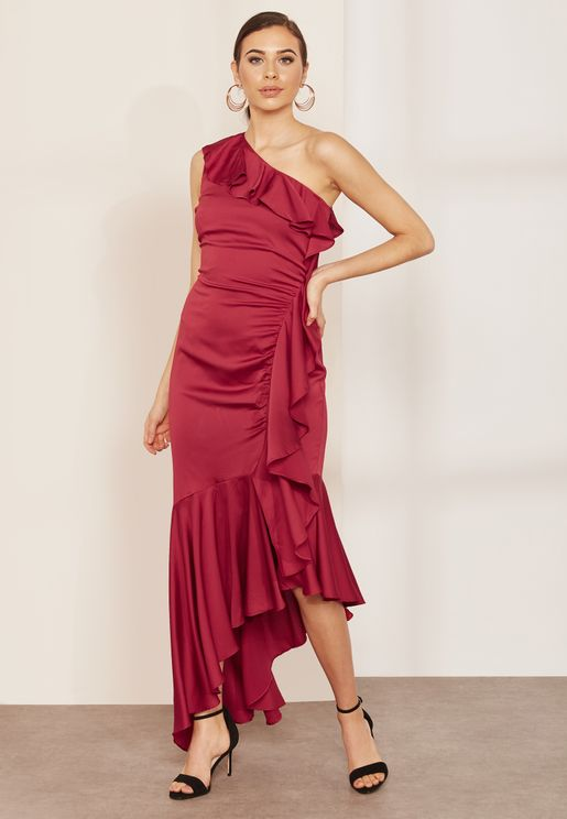c4d458cd65c Breathe One Shoulder Ruffle Detail Maxi Dress
