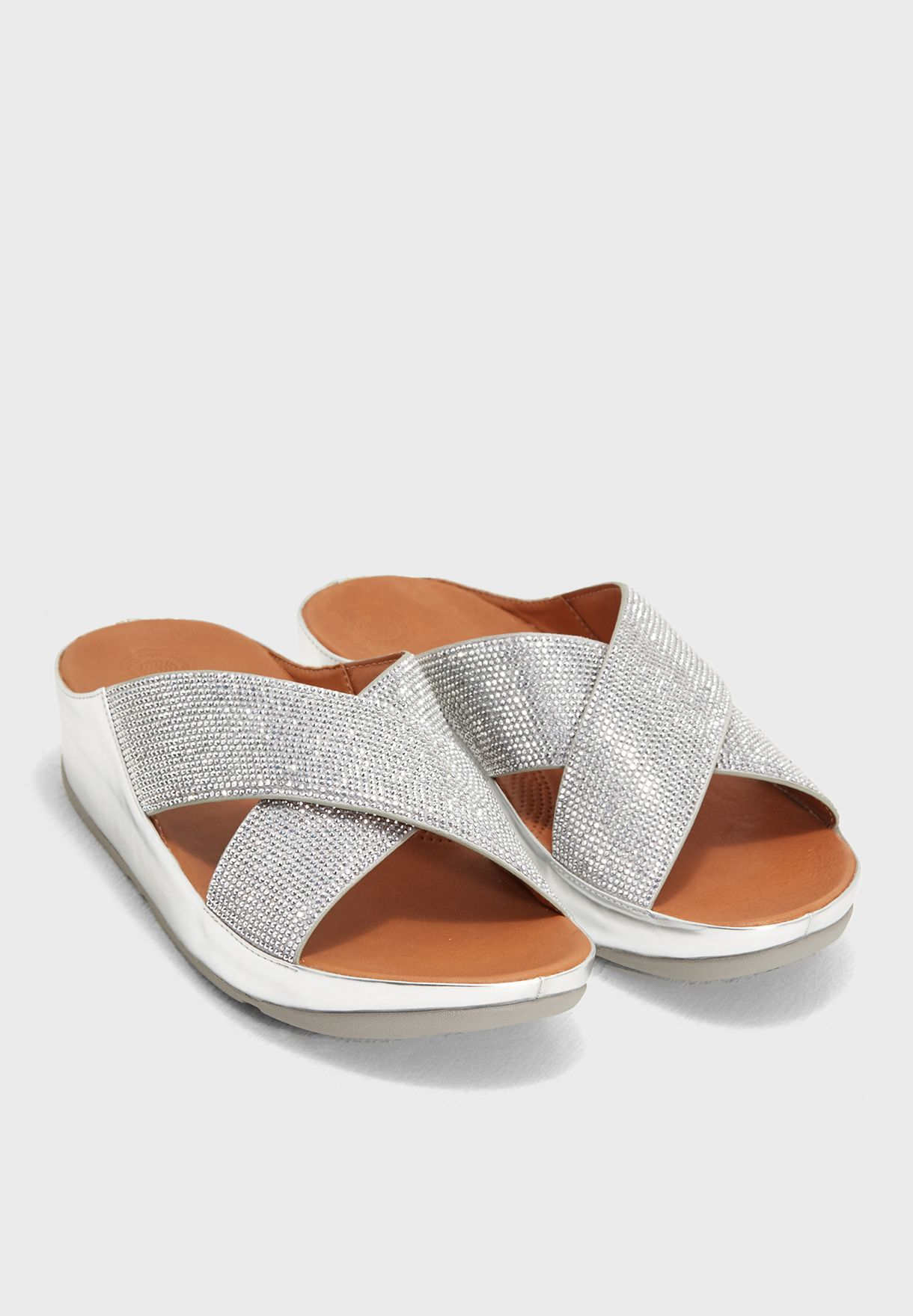 39ebd5fa547643 Shop Fitflop silver Crystall Slide J55-527 for Women in UAE ...