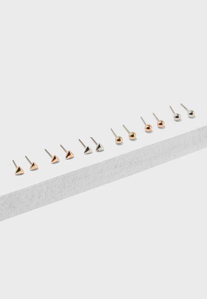 Geo Stud Earrings Pack Of 6