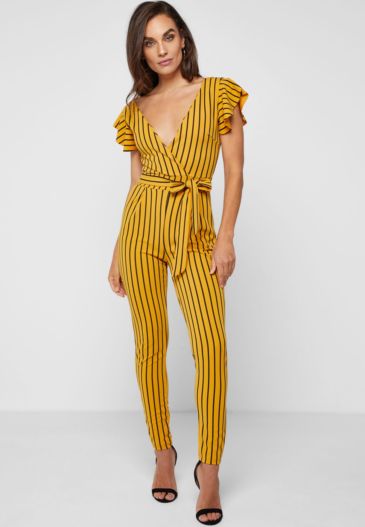 b75bf011427c Shop Ella prints Striped Wrap Front Jumpsuit 2122 for Women in UAE ...