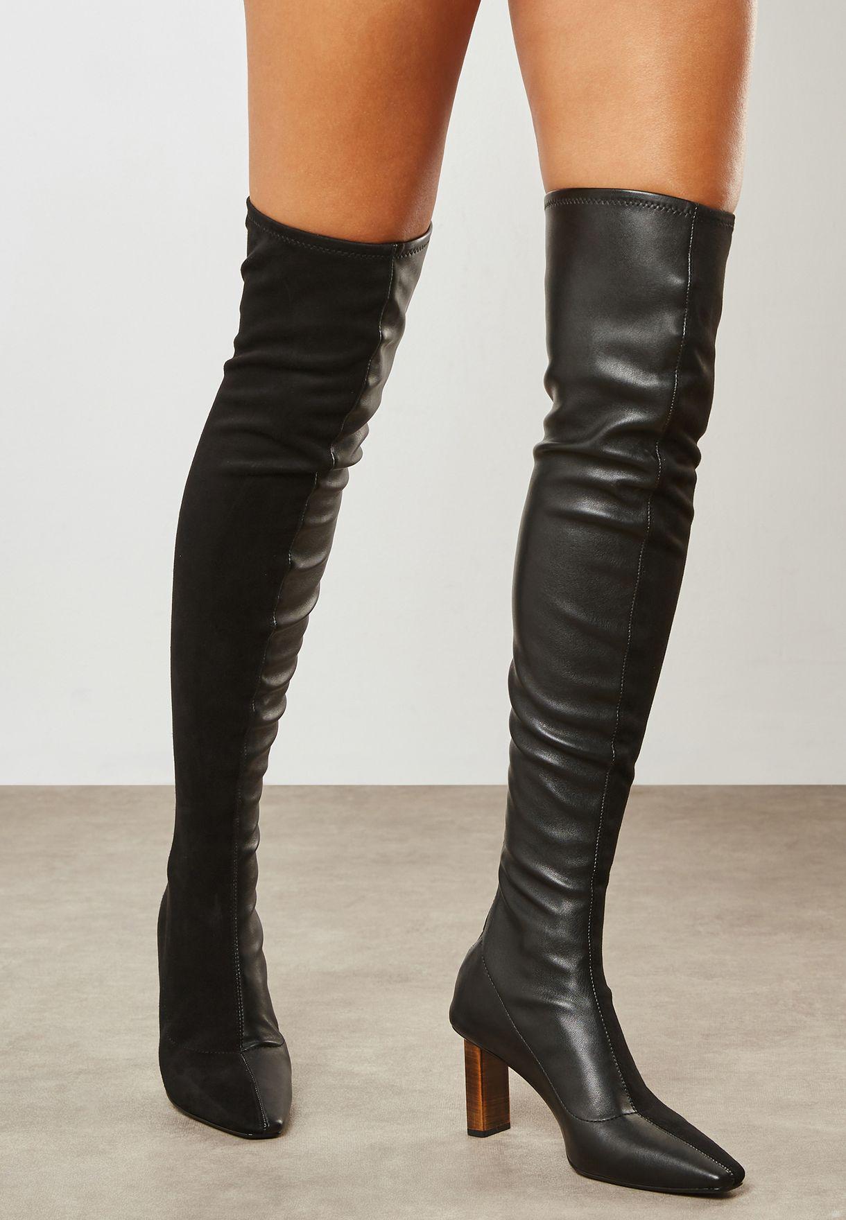 3cd03ab6b23 Shop Mango black Tina Knee Boot 33055761 for Women in UAE - MA887SH55TFW