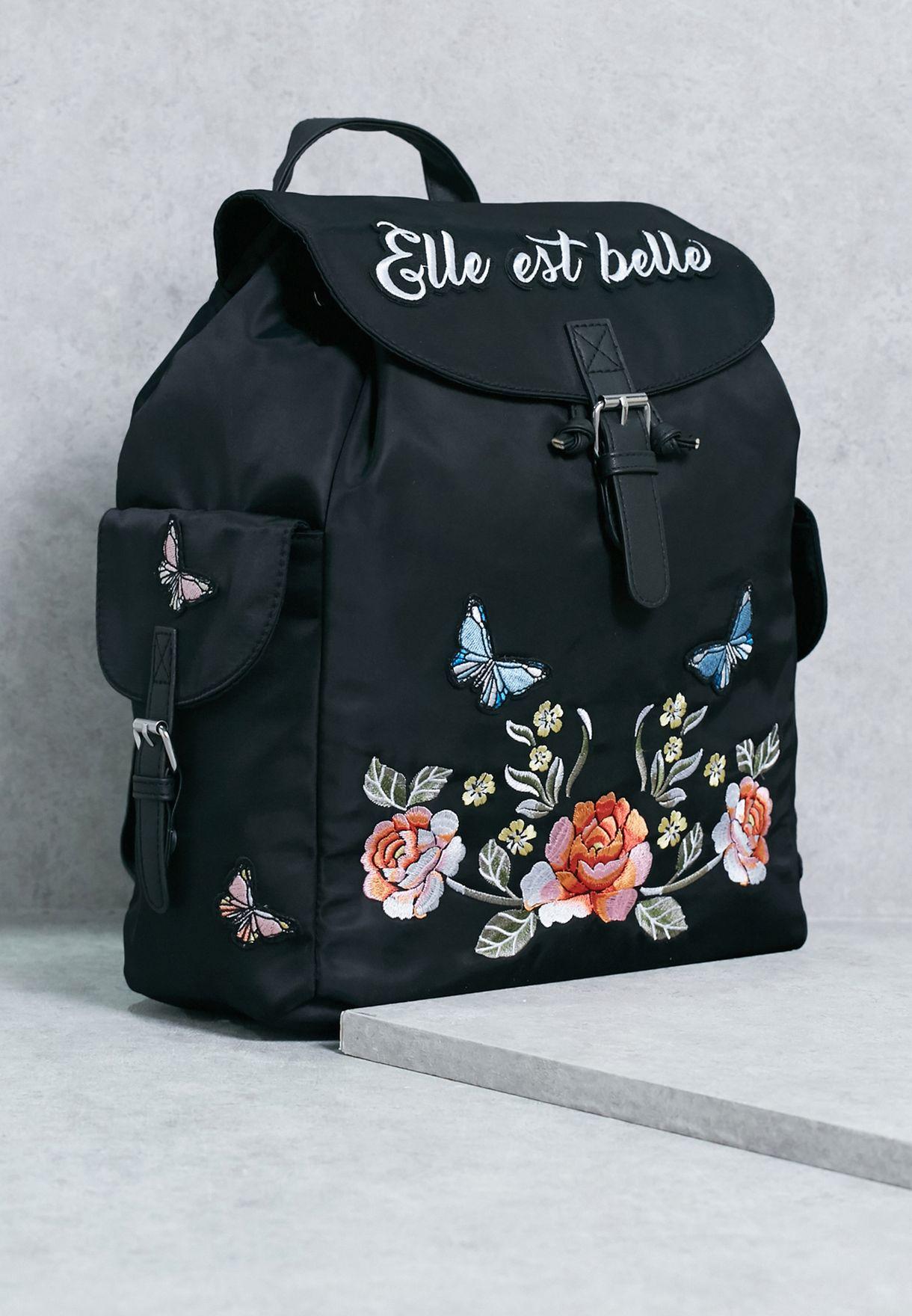 141060dddd56 Shop New Look black Elle Est Belle Embroidery Backpack 517211409 for ...