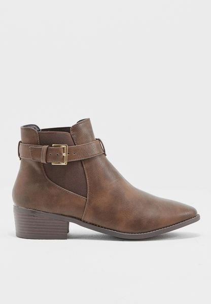 Belted Strap Ankle Booots