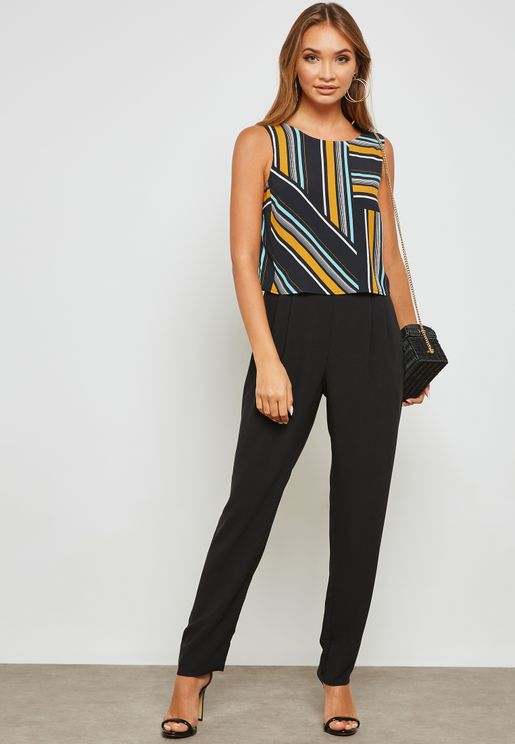 Striped Double Layer Jumpsuit
