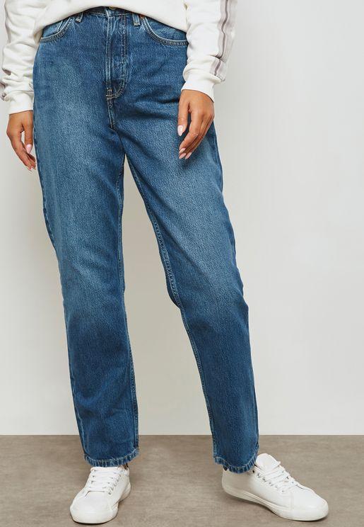 MOTO Dark Wash Straight Jeans