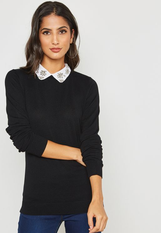 Embellished Collar Sweater