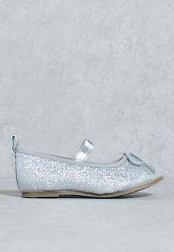 Glitter Ballet Pump Silver