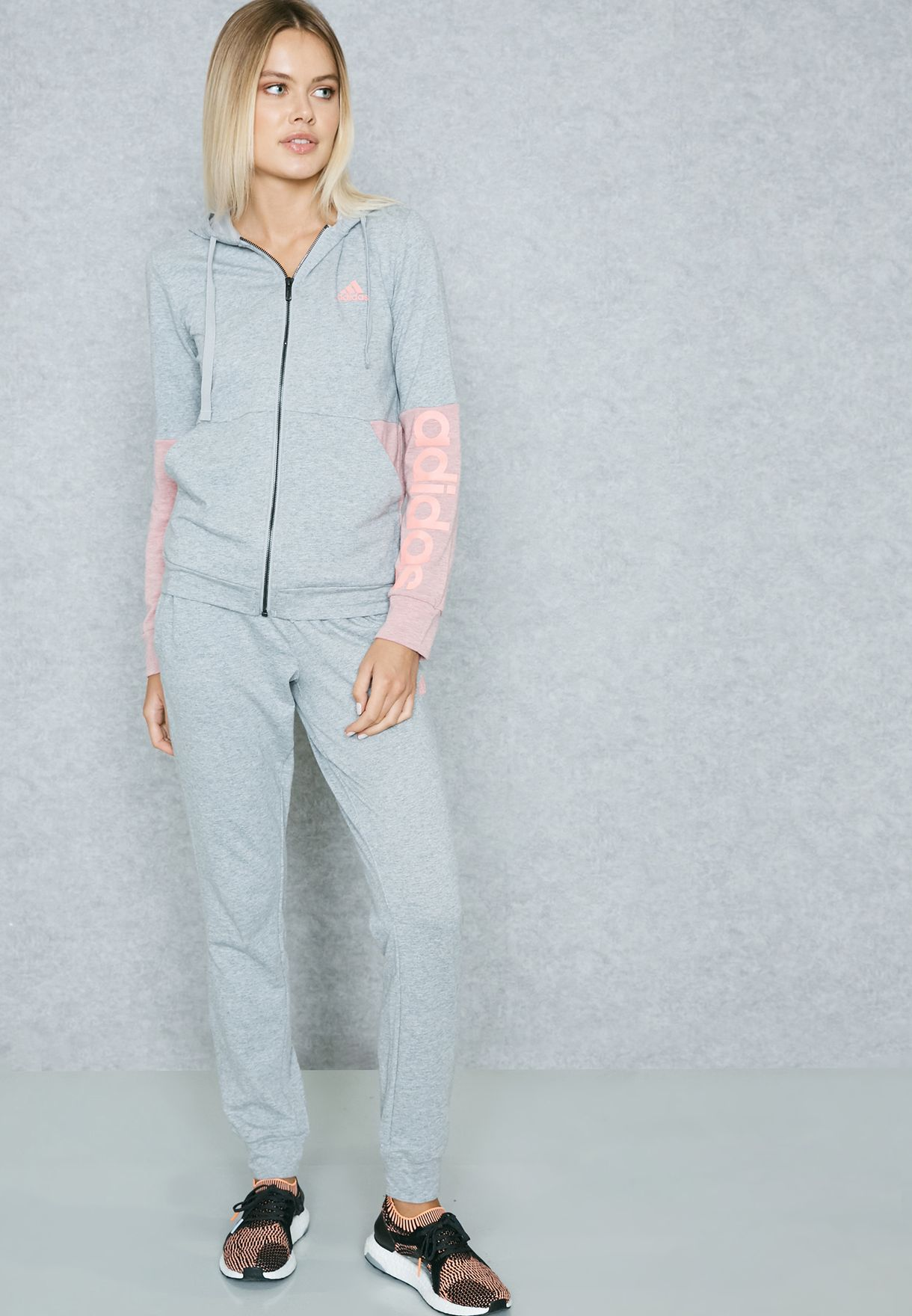 640911e3949 Shop adidas grey Marker Hoodie Tracksuit BS2604 for Women in ...