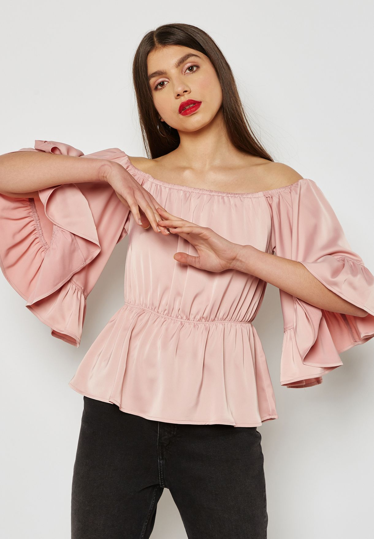 b9b3d0590 Shop Yas pink Ruched Detail Bardot Top 26010282 for Women in Qatar ...