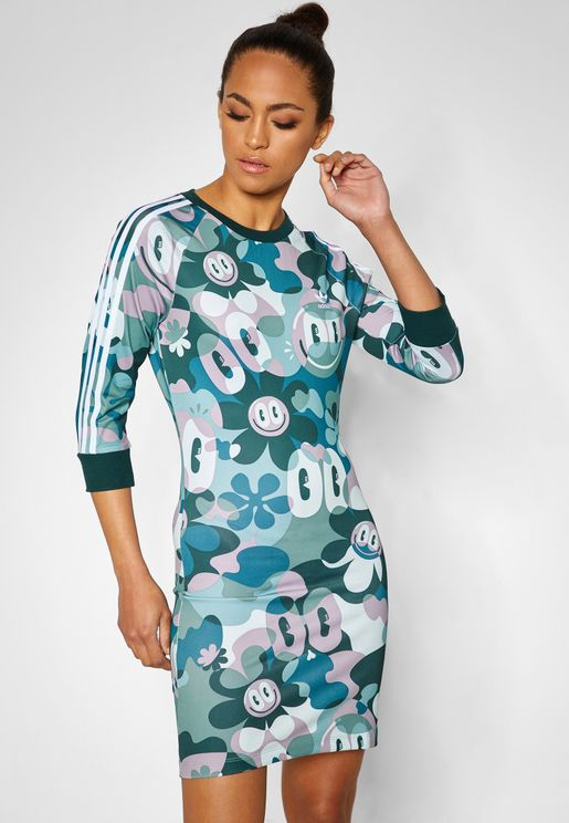 3 Stripes AOP Dress